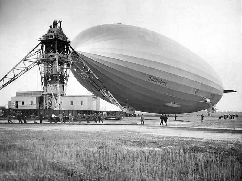 "Airship ""Hindenburg"" at the airbase of Lakehurst"